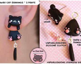 Kawaii Earrings Cat Stud, black cute cat jewelry gift, kitten stud for cat lover, polymer clay handmade