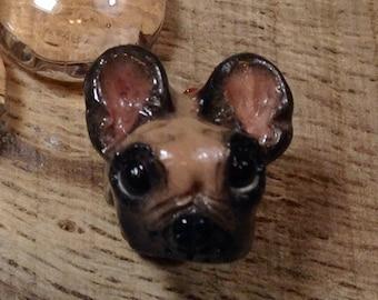 French BullDog European Bead Handmade Charm Fawn and Black for Large Hole Bracelets