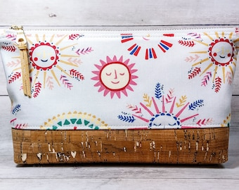 Small Makeup Bag, Zipper Pouch, Cork Bottom Cosmetic Toiletry Bag - Sunny Side Up