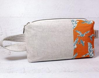 Boxy Zipper Pouch Makeup Bag - Floral Birds