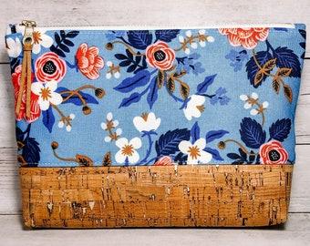 Midsize Makeup Bag, Zipper Pouch, Cork Bottom Cosmetic Toiletry Bag - Rifle Paper Periwinkle Les Fleurs