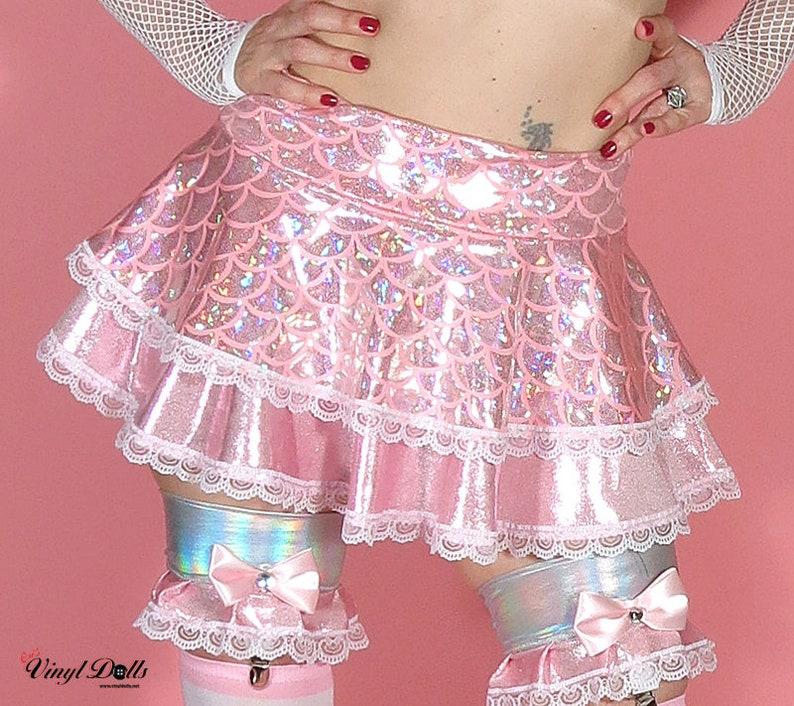 4754efe5b84 Holographic Skater Skirt Sweet Pastel Pink Mermaid Skirt