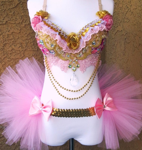 85ddbdeb4d Pink Gold Diamond Princess Rave Outfit Rave Bra and Half