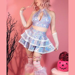 Sparkling Glitter White layered Tutu Skirt Costume Dance Rave Trance EDC Wonderland Ultra LIB Firefly Nye Festival Outfit Wear