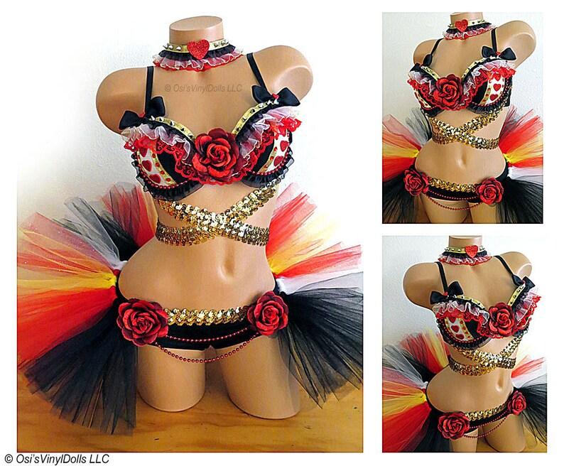 9e2b05db18852 Queen of Hearts Rave Outfit Bra Half TuTu Collar Alice in