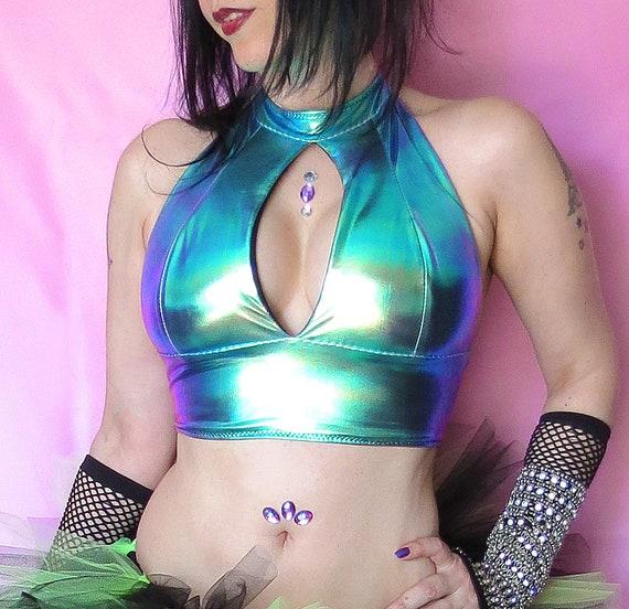 Olievlek Halster Rave Top, Glanzende Hologram Spandex Top, Rave Bralette, Holografische Kleding, Festival Outfit by Etsy