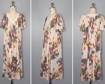 gauze dress / 1970s / india cotton / TULIP FIELDS bohemian vintage dress