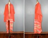vintage . silk . kimono . PHOSPHORESCENT . fluoro . peach