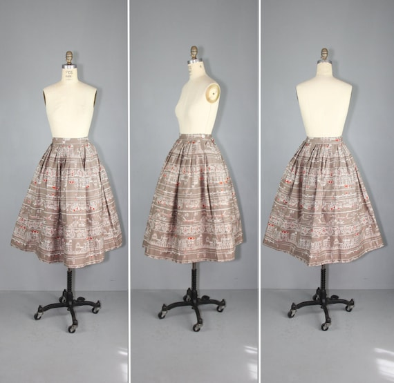 1950s skirt / novelty print / AMSTERDAM CANALS vin
