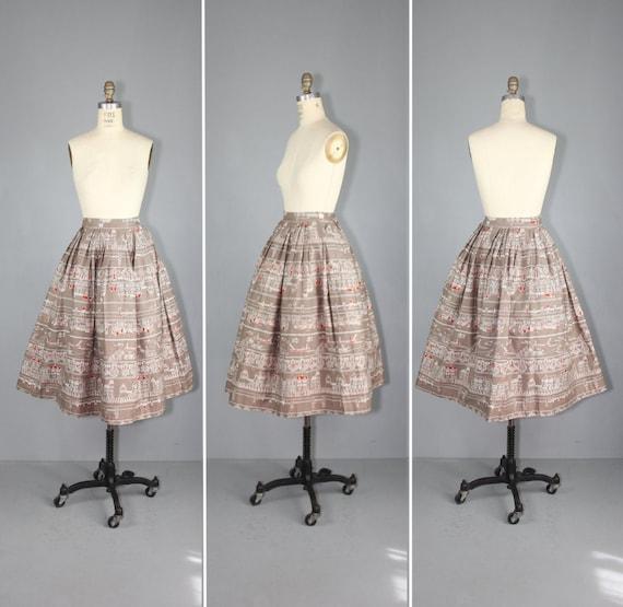 1950s skirt / novelty print / AMSTERDAM CANALS vi… - image 1