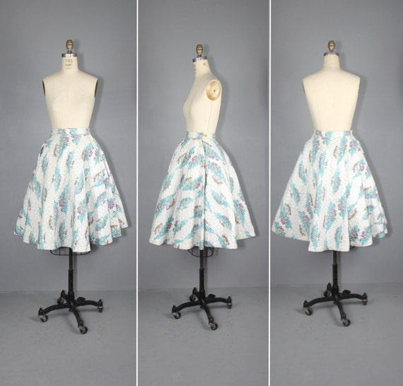 1950s skirt / circle skirt / novelty print / COAST