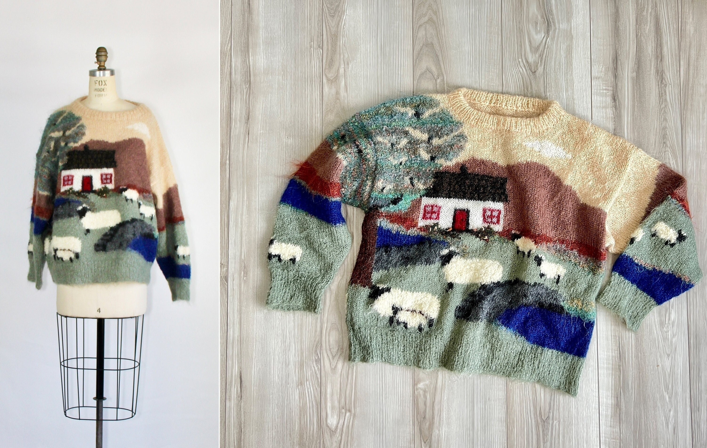 80s Sweatshirts, Sweaters, Vests | Women Woodchurch  Vintage Mohair Sweater Landscape Cottagecore Sheep 1980S Hand Knit $385.00 AT vintagedancer.com