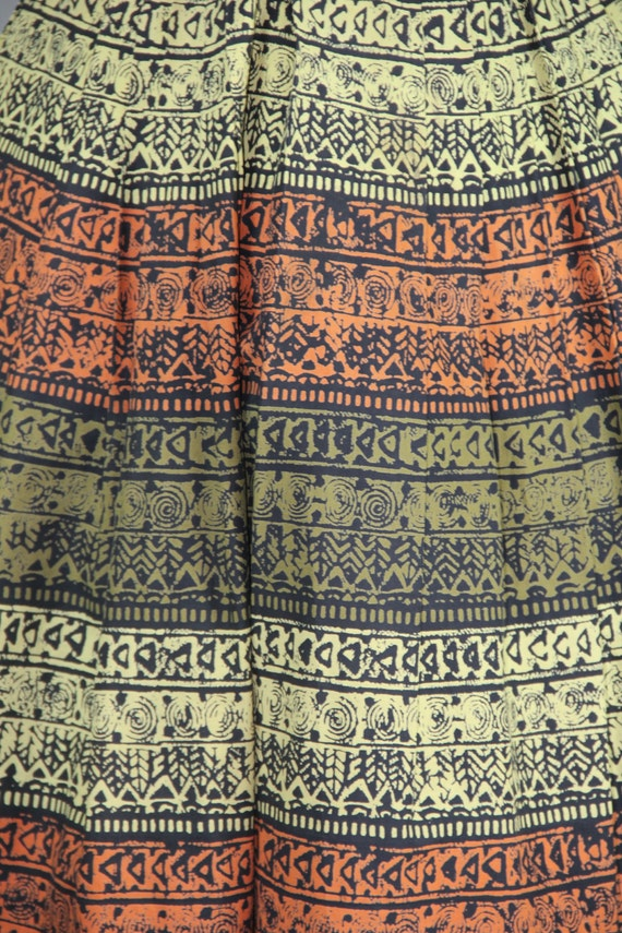 vintage skirt / 1950s / novelty print / TRIBAL SC… - image 2