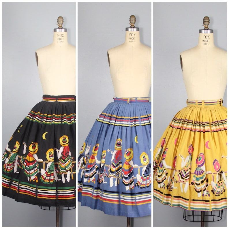 RARE  1950s novelty skirt  Mexican Musicians  cotton skirt image 0
