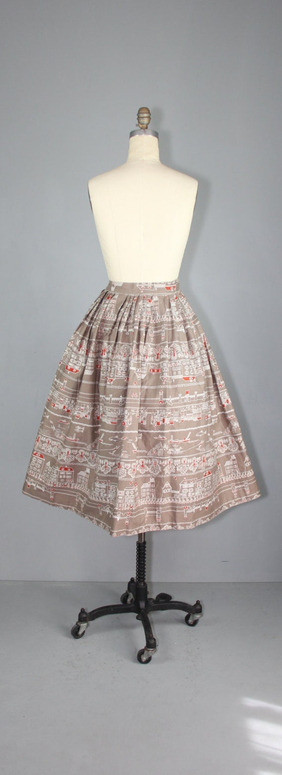 1950s skirt / novelty print / AMSTERDAM CANALS vi… - image 5