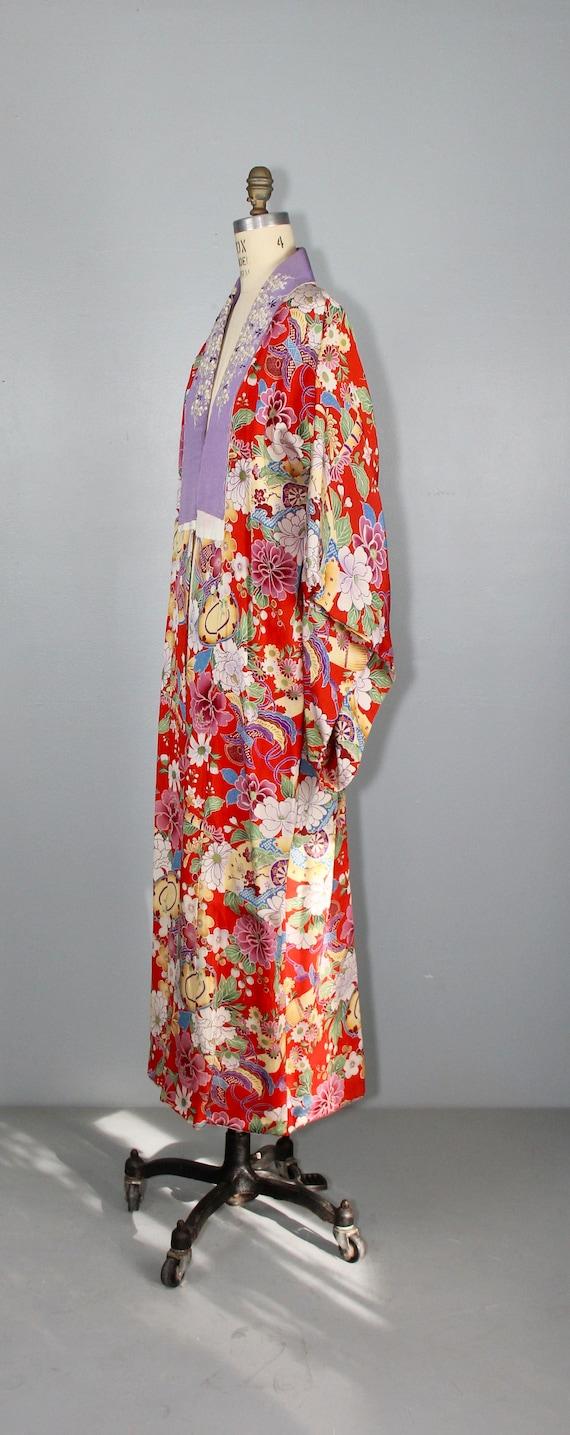 1930s embroidered kimono | silk robe | floral jub… - image 6