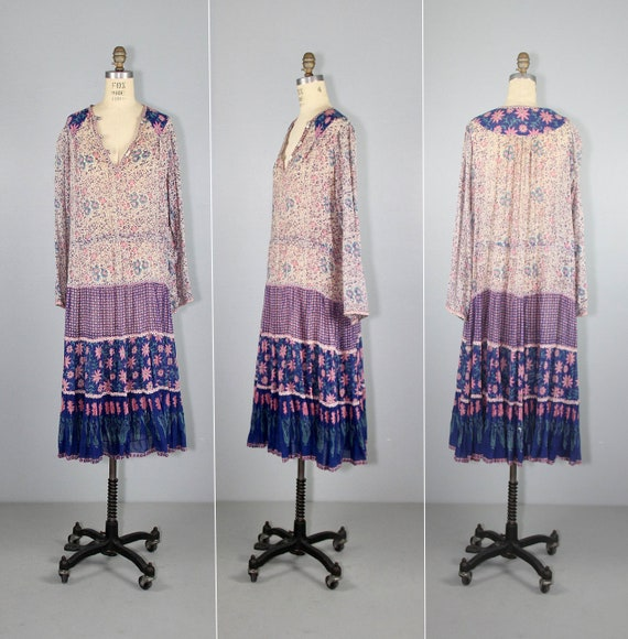 Adini | 1970s dress | india gauze | bohemian | vin