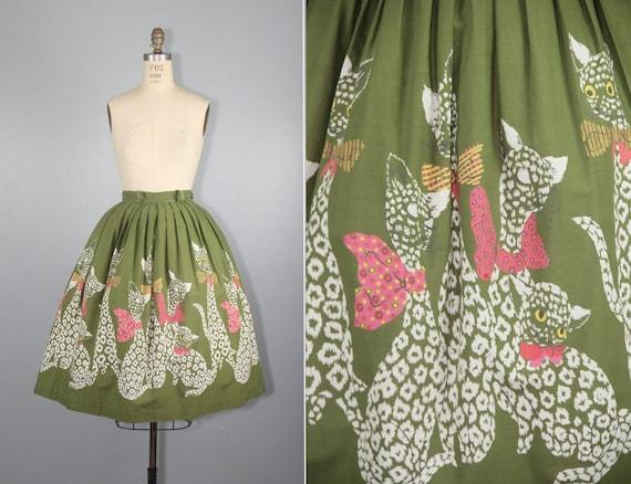 1950s novelty skirt | cats | kittens | full skirt