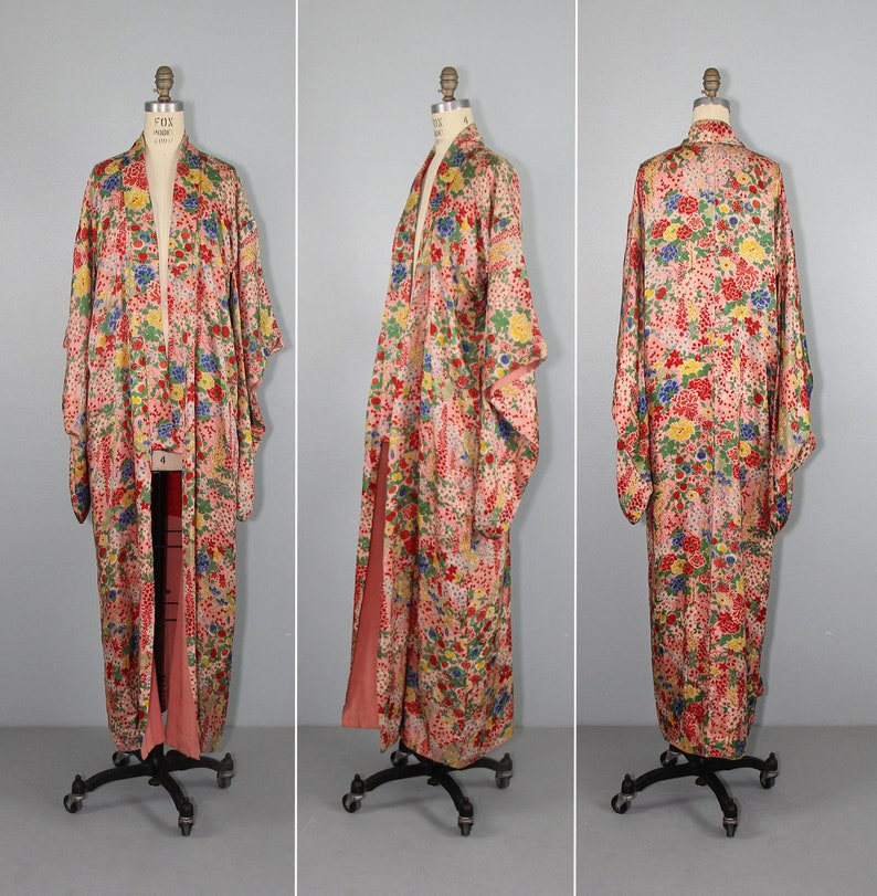 1930s kimono  silk robe  floral  vintage kimono  antique image 0