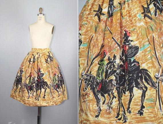RARE | novelty skirt | DON QUIXOTE | 1950s | cotto