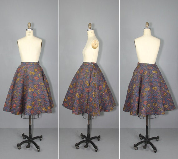 1950s skirt / circle skirt / quilted / SOCK HOP vi