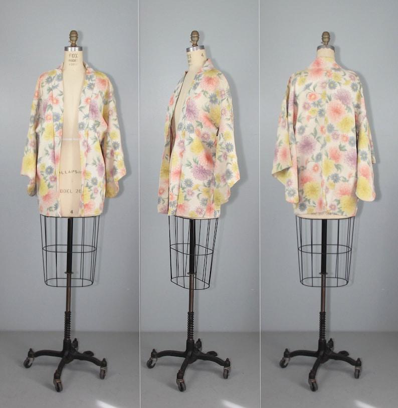 Jardin  haori  vintage kimono  silk jacket  floral  1950s image 0