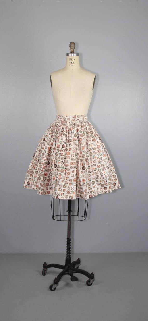 1950s skirt / novelty print / LITTLE FOLKLORE / v… - image 3