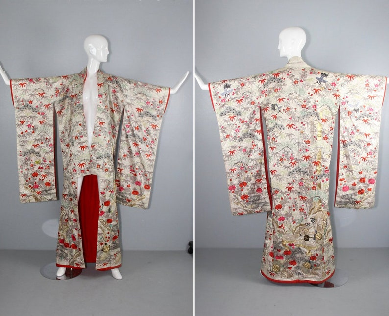antique kimono  silk robe  furisode  embroidered  wedding image 0