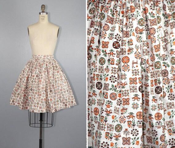 1950s skirt / novelty print / LITTLE FOLKLORE / vi