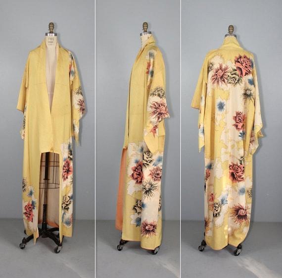 vintage kimono | 1930s | silk robe | floral | dres