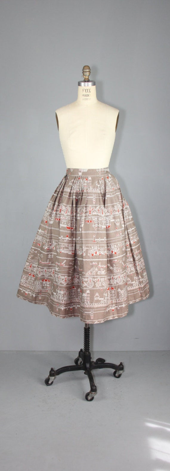1950s skirt / novelty print / AMSTERDAM CANALS vi… - image 3