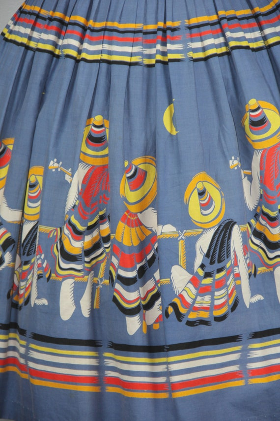 RARE | 1950s novelty skirt | Mexican Musicians | … - image 3