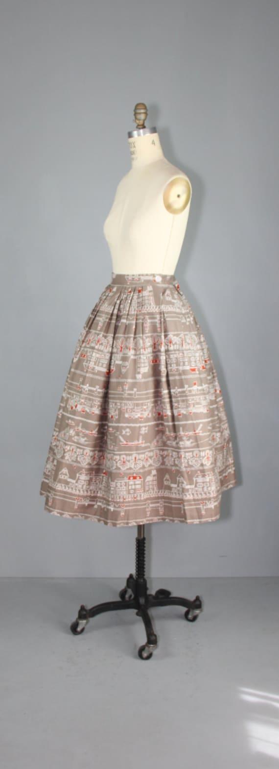 1950s skirt / novelty print / AMSTERDAM CANALS vi… - image 4