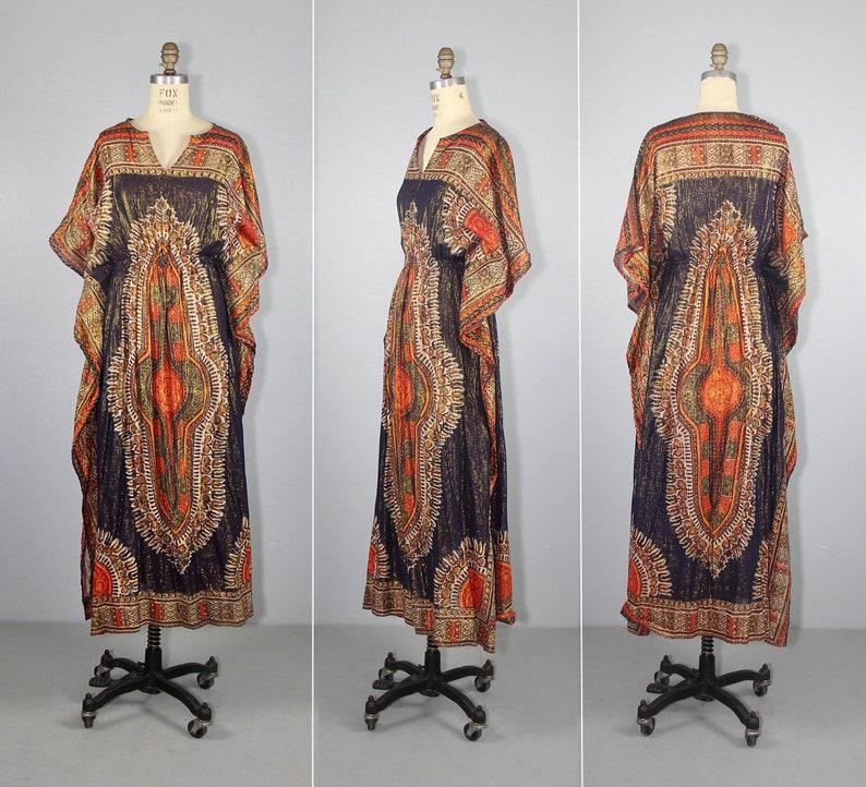 caftan  india gauze  cotton dress  1970s  bohemian  image 0