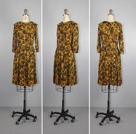 1950s dress / AUTUMN LEAVES / vintage dress / pete
