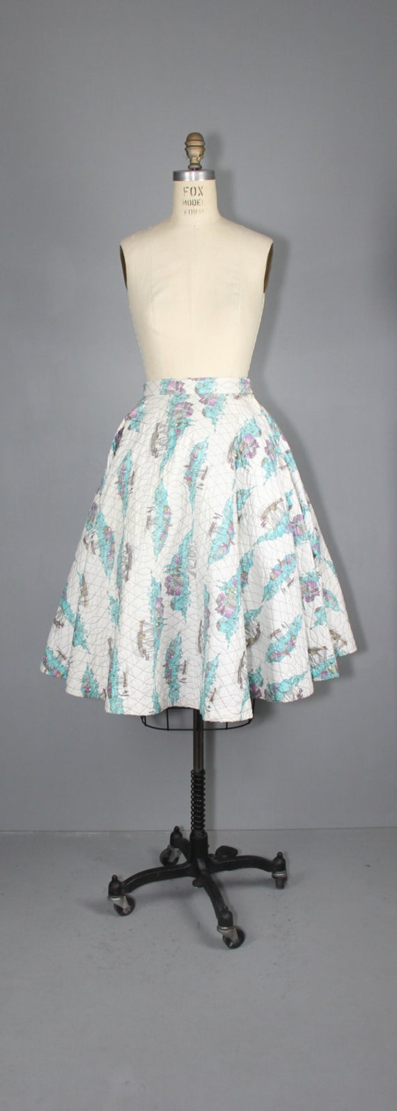 1950s skirt / circle skirt / novelty print / COAS… - image 3