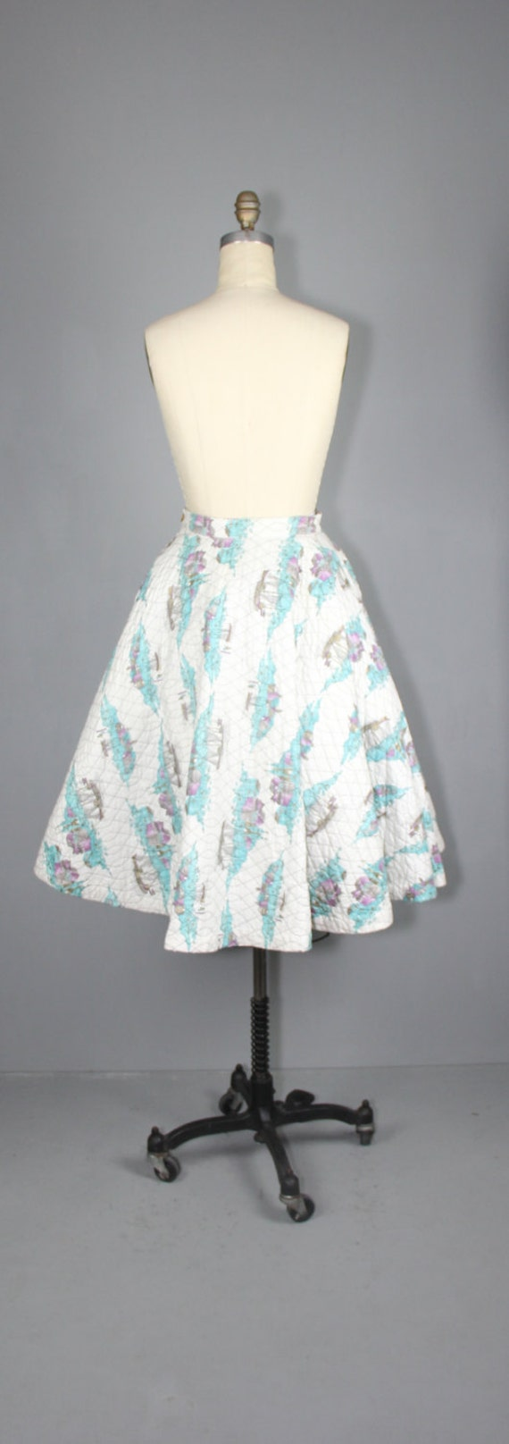 1950s skirt / circle skirt / novelty print / COAS… - image 5