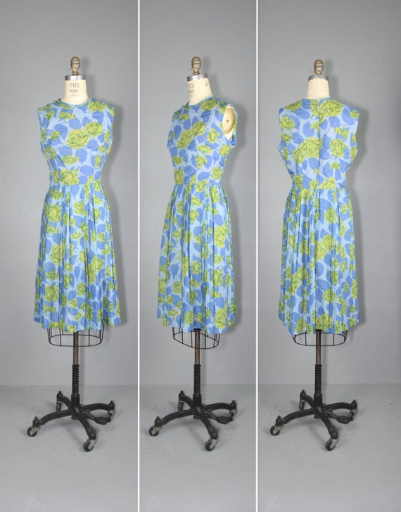 1960s dress / sleeveless / floral / EVENSONG cotto