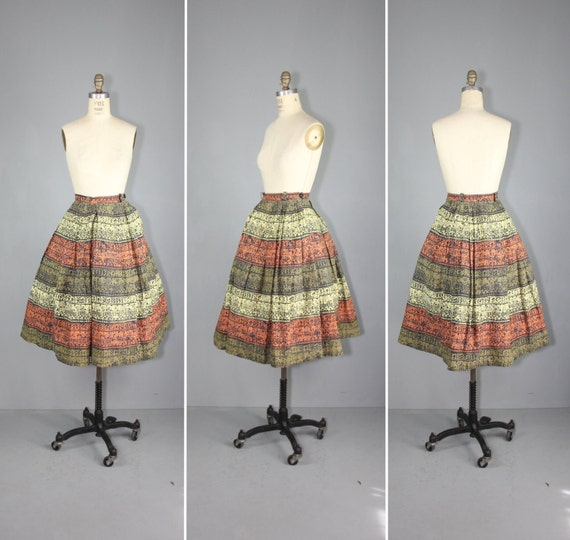 vintage skirt / 1950s / novelty print / TRIBAL SC… - image 1