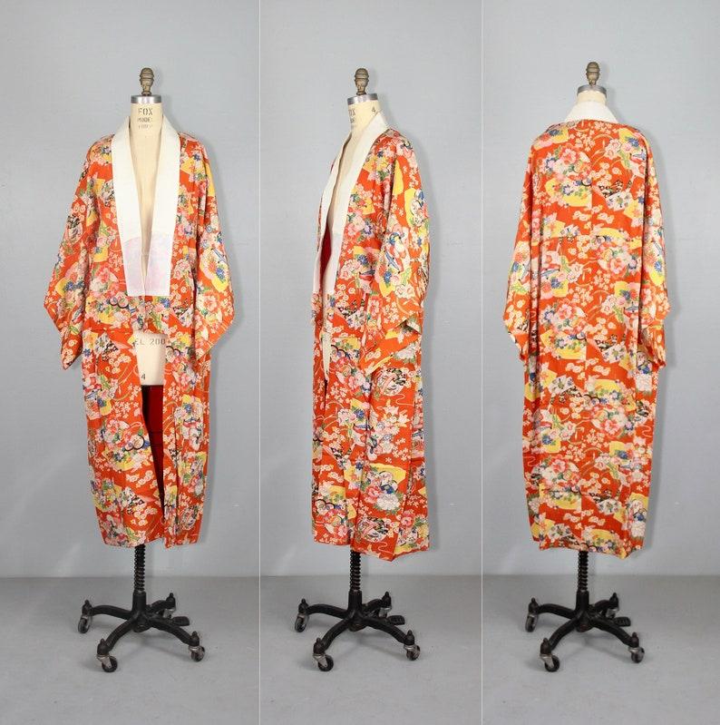 vintage silk kimono  1930s  juban  dressing gown  silk image 0