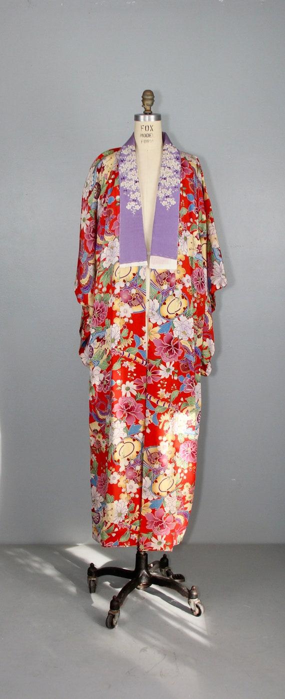 1930s embroidered kimono | silk robe | floral jub… - image 5