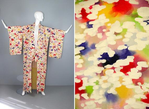 silk kimono / 1940s / dressing gown / crepe / WATE