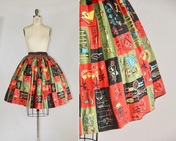 1950s Novelty Skirt | tribal | cotton | novelty pr