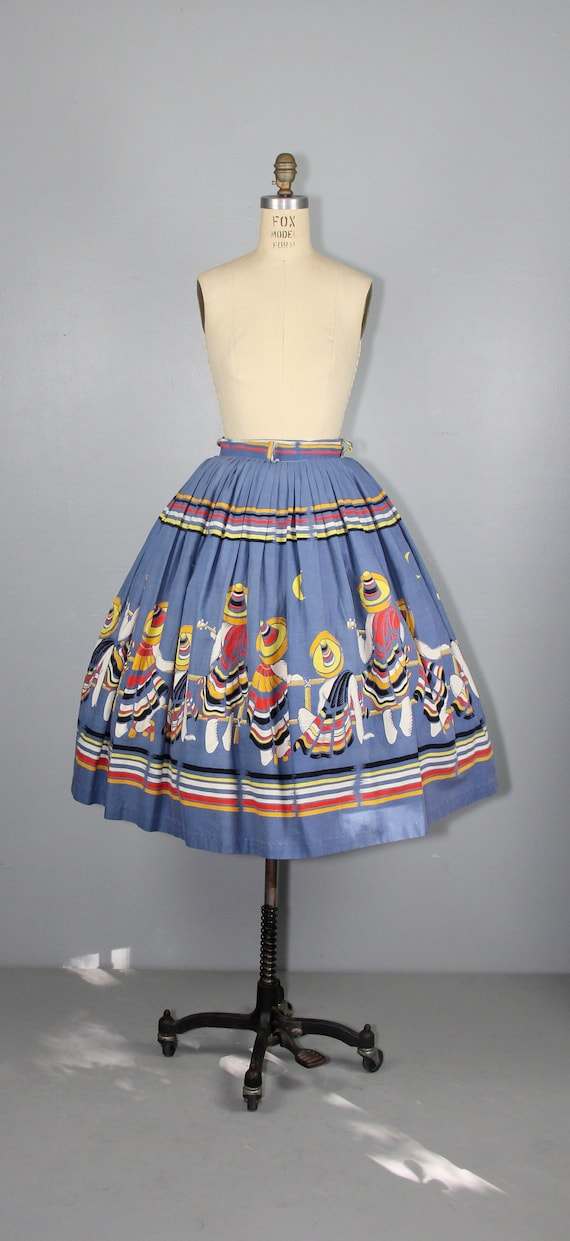 RARE | 1950s novelty skirt | Mexican Musicians | … - image 2
