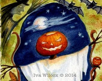 Halloween Scarecrow Witch and Bats- PRINT of my Original Watercolor Painting Folk Art