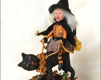 Spun Cotton Halloween Black Cat and Witch with Paperclay Face on Candy Box OOAK Folk Art - EHAG