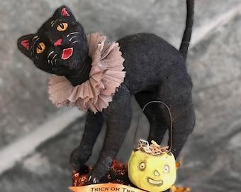 Spun Cotton Halloween Trick or Treat Black Cat with Jack o Lantern OOAK Folk Art on Vintage Spool