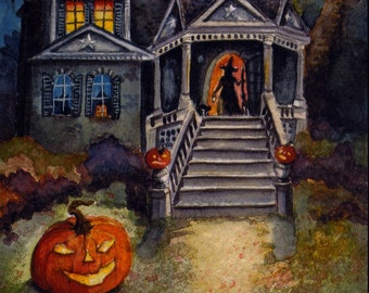 Halloween Witch Mansion - PRINT of my Original Halloween Haunted Watercolor Painting Folk Art