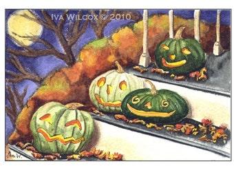 Halloween Night Out - Smiling JOLs PRINT of my original watercolor - EHAG