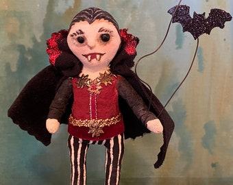 Count Cutie Spun Cotton Halloween Count Dracula OOAK Halloween Folk Art Vampire